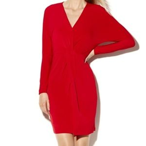 VINCE CAMUTO Red Gathered Knot Waist Dress